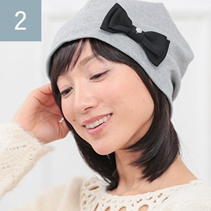 前髪取り外し式髪付き帽子ミディアムショート人毛ミックス