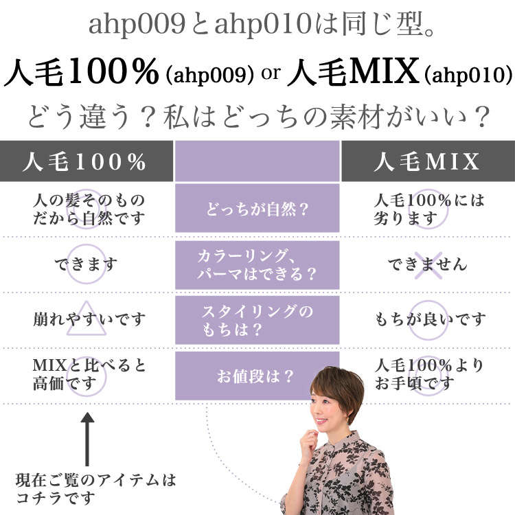 ahp009とahp014は同じ型。人毛100%(ahp009)or人毛MIX(ahp014)どう違う?私はどっちの素材がいい?