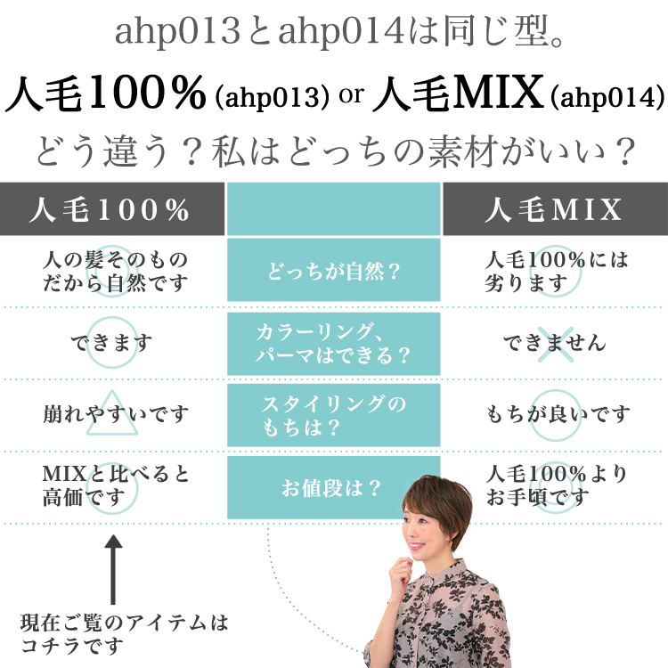 ahp013とahp014は同じ型。人毛100%(ahp013)or人毛MIX(ahp014)どう違う?私はどっちの素材がいい?