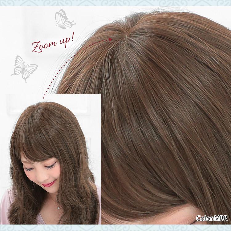 まるで頭皮から髪が生えているように、髪を一本一本植えていくことで、人の髪をリアルに再現した医療用ウィッグです。
