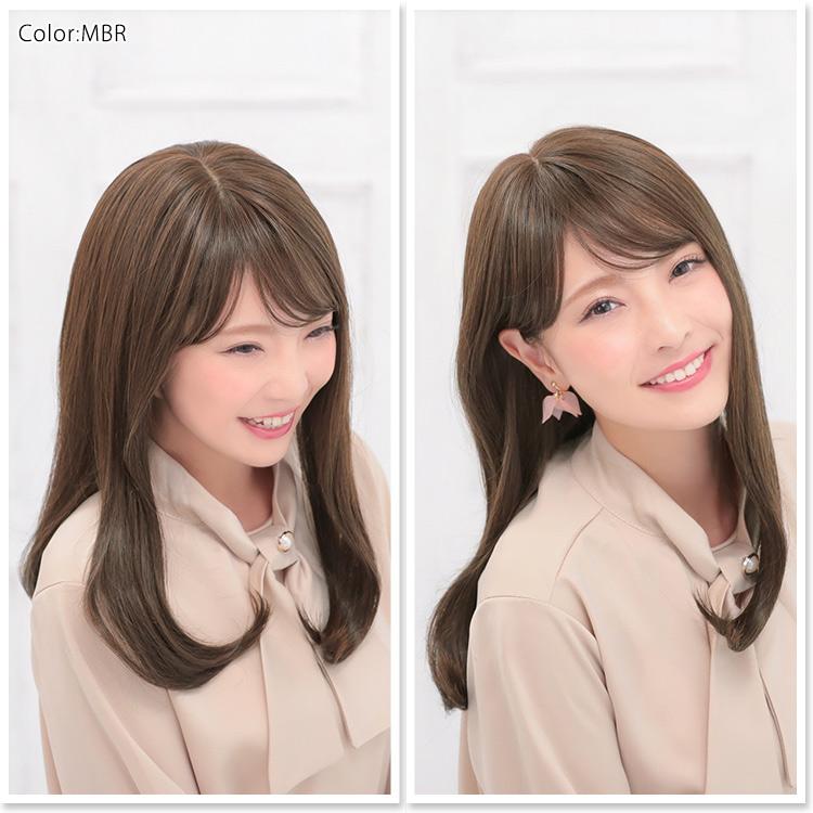 前髪とサイドのバランスも計算されつくしたフェミニンスタイルの医療用ウィッグ