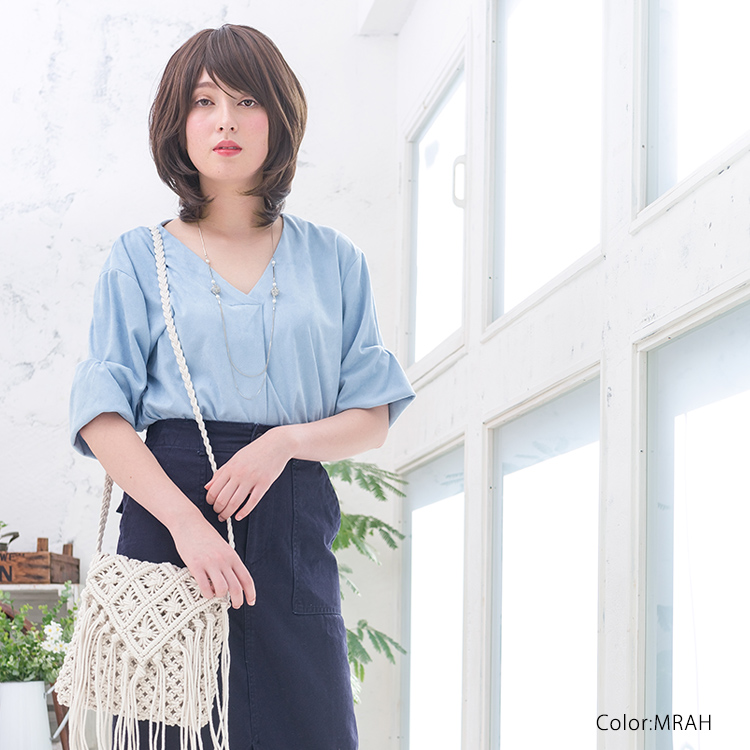丸みのあるひし形シルエットが柔らかい質感と印象にしてくれるファッションウィッグです。