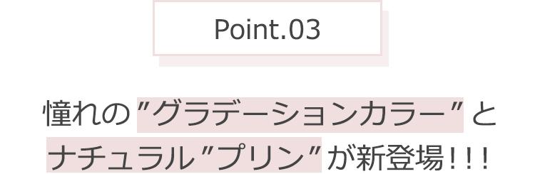 """Point.03 憧れの""""グラデーションカラー""""とナチュラル""""プリン""""が新登場!!!"""