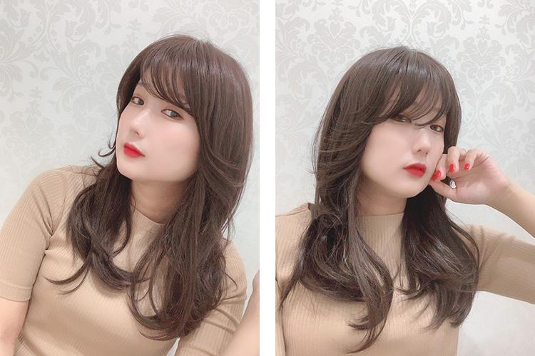 韓国アイドルのようなヘアスタイル♪長めの前髪で、私はおでこが狭いので流しても少しカットしないと目にかかってしまいますが、ふんわりとカールの入ったシースルーバングなので目にかかっても気にならず、そのまま使用しています。