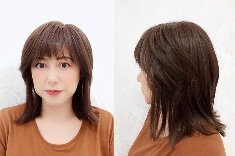 前髪長めでおでこの広い私には下ろしてもよい長さです!下げても流してもよくアレンジしやすい嬉しいウィッグです。