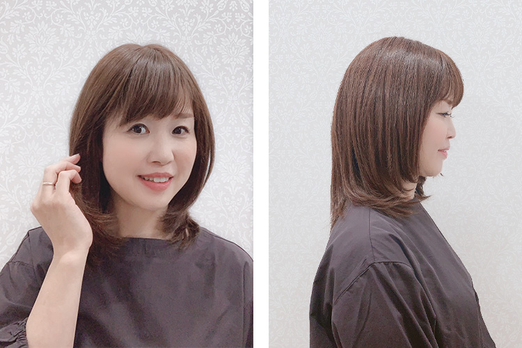 人毛ミックスでは1番明るいモカブラウンを着用 です。長すぎず短すぎない長さは肩にあたって外ハネにスタイリングでカジュアルにも!さらに前髪は幅狭目で、小顔効果が期待できます♪