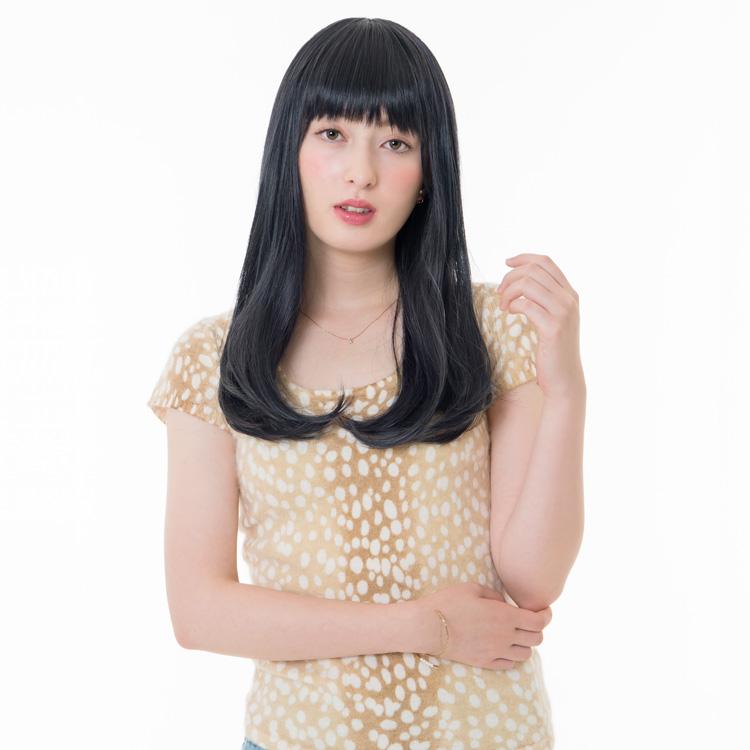 アクアドールのファッションフルウィッグ、「スイートワンカールミディアムウィッグ」のカラーBLBKです。